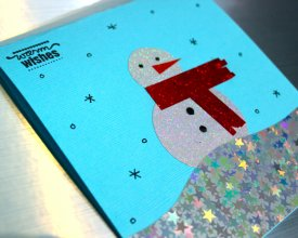Holiday Shimmer Snowman Card