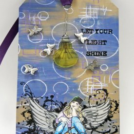 Girl with Wings Mixed Media Tag