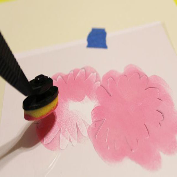 stencil card - painting flowers