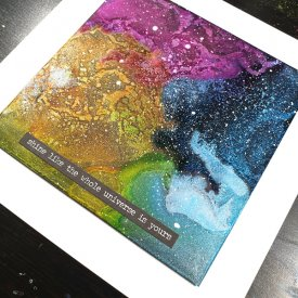 An Out of this World Alcohol Ink on Grafix Opaque Black Craft Plastic