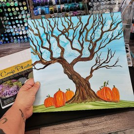 Alcohol Ink Spooky Tree and Pumpkins on Grafix Opaque White Craft Plastic Film