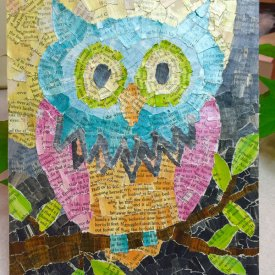 Collage Owl using Grafix Artist-tac