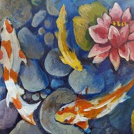 Painting Koi Fish and Water Lilies with Opaque Black Film