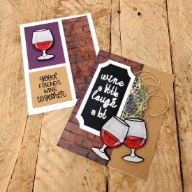 UnWINE Cards with Distressed Embossing