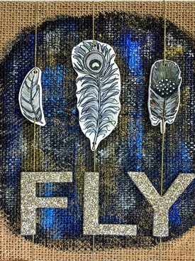 Grafix Artist Series Shrink Film Feathers on Burlap Canvas