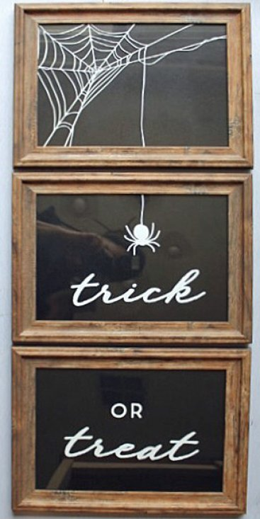 Halloween DIY Trick or Treat Framed Grafix Cling Vinyl Art